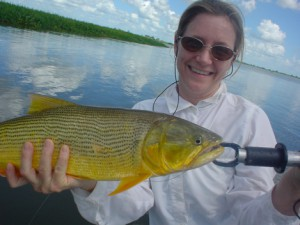 Fly Fishing in Argentina for Dorado at Humbare Lodge Lisa with a nice Dorado