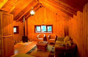 A cabn interior at Trout fishing in Chile at El Patagon Lodge, fly fishing heaven.