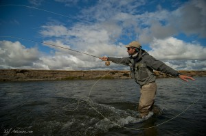 Casting for a sea run brown - Fly fishing for sea run brown trout at the Kau tapen lodge in Tierra del Fuego Argentina
