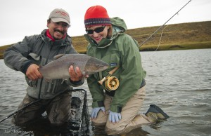 Fly fishing for sea run brown trout at the Kau tapen lodge in Tierra del Fuego Argentina