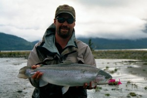 Fly fishing for  brown trout at the Yan Kee Way lodge in Southern Chile