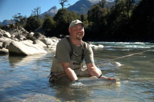 Fly fishing for  brown trout at the Yan Kee Way lodge in Southern Chile petrohue river
