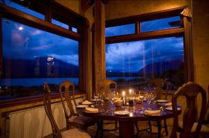 The dining room at Yan Kee Way lodge in Southern Chile