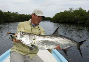 Fly fishing in Mexico for tarpon at Isla del Sabalo - a nice 35 pound tarpon