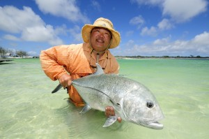 Fly Fishing for bonefish and trevally on Christmas Island at The Captain Cook Hotel