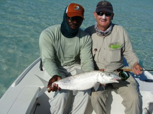 Fly Fishing for bonefish at Mangrove Cay on South Andros, Bahamas